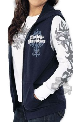 pink harley davidson wallet chain | Harley-Davidson Womens King's Point Full Zip Vest Navy Sleeveless ...