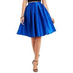 Charlotte Russe Cobalt Pleated Full Midi Skirt by Charlotte Russe at... ($35) ❤ liked on Polyvore featuring skirts, cobalt, charlotte russe, knee length pleated skirt, flare skirt, high waisted skirts and blue knee length skirt
