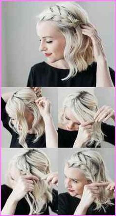 Make evening hairstyles yourself - 18 tips and tricks for effect .- Abendfrisuren selber machen – 18 Tipps und Tricks für effektvollen Look Make evening hairstyles yourself – 18 tips and tricks for an effective look - Evening Hairstyles, Side Hairstyles, Braided Hairstyles For Short Hair, Simple Hairstyles For Medium Hair, Short Blonde Haircuts, French Braid Hairstyles, Stylish Hairstyles, Bob Hairstyles How To Style, Wedding Hairstyles For Short Hair
