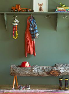 This simple coatrack functions nicely as a high shelf.