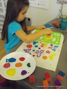 Finger/Sponge Painting with Stencils