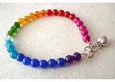 Kalai: Pulsera arcoíris con corazón de plata - Kichink!