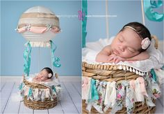 So cute! Hot air balloon prop for baby's first photos! Newborn baby pictures, Melissa Landres photography