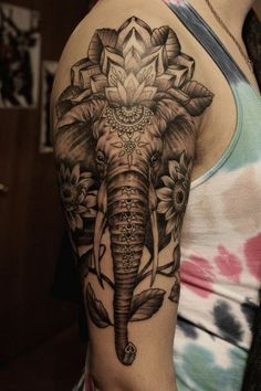 Elephant Sleeve Tattoo. www. http://forcreativejuice.com/cool-sleeve-tattoo-designs/