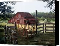 Red Barn At Sunrise Painting by Cynara Shelton - Red Barn At Sunrise Fine Art Prints and Posters for Sale Landscape Art, Landscape Paintings, Barn Paintings, Landscapes, Landscape Wallpaper, Barn Pictures, Pretty Pictures, Country Barns, Country Life