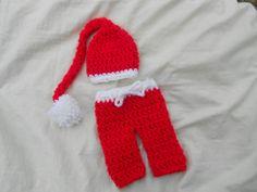 2 pc Christmas outfit hat and pants newborn by DesignsbyKieshia, $16.00