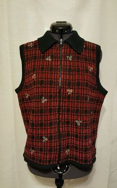 Women's Woolrich Vest Sz M Red & Black Checked with Flowers Cotton Blend WV13 #Woolrich
