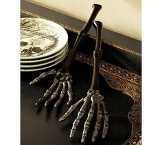 Skeleton Hand Serving Set, Bronze finish