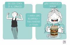 Hago ejercicio mucho, pero tambien me gusta comer mucho