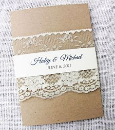 Rustic Wedding Invitation, Rustic Lace Wedding Invitation, Vintage Lace Wedding Invitation Suite by LoveofCreating on Etsy https://www.etsy.com/listing/208531760/rustic-wedding-invitation-rustic-lace