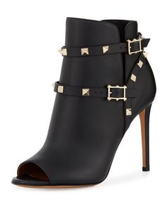 S1MWV Valentino Rockstud Strappy Ankle Boot, Black