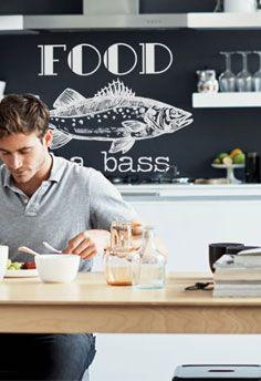 Keukenmuur decoratie - getekende zeebaars vis als muursticker! www.stickerop.nl Kitchen Interior, Room, Bedroom, Rooms, Peace