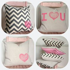 Pink and Gray LOVE Pillow Cover by MySwallowsNest on Etsy // #valentines #love #chevron #pink #gray