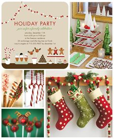 Christmas Party Inspiration Board - candy canes, christmas tree, red and green stockings