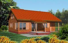 Projekt Modrzewiowy to drewniany dom, mogący służyć jako letniskowy lub całoroczny. Został zaprojektowany z myślą o wygodnym wypoczynku, zintegrowaniu się z otaczającą przyrodą. Sylwetka budynku przywodzi na myśl solidność i elegancką prostotę. Funkcjonalne wnętrze z dużym salonem łączy się z ogrodem przez zadaszony taras.