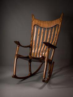 Custom Made Walnut U0026 Zebrawood Handshake Rocking Chair
