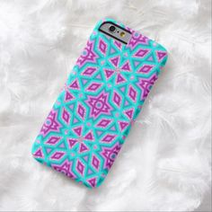 Faux Pink Glitter Turquoise Tribal Mosaic Pattern iPhone 6 Case