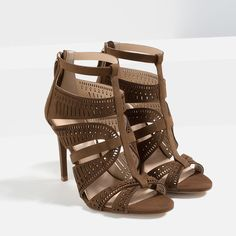 Image 3 of LEATHER STRAPPY HIGH HEEL SANDALS from Zara