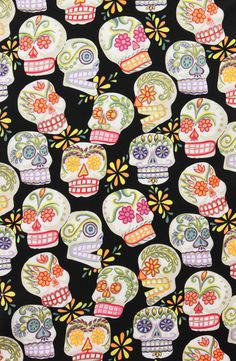 Alexander Henry Fabrics  Calaveras Skulls  Bought at Fabrics Galore and used it for the collar and the sleeves for Jasmine blouse from Colette Patterns