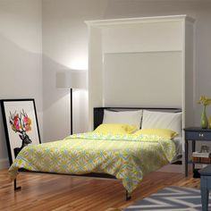 """Bed & Room Porter Queen Portrait Wall Bed in White. $1700, """"solid"""" wood, favorite so far...."""