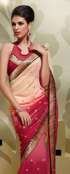 Beige Brown And Pink Faux Georgette Party Wear Saree 15933 With Unstitched Blouse