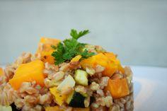 Pumpkin and Zucchini Farro Risotto Nutritional Value, White Rice, Vegan Dishes, Healthy Alternatives, Risotto, Zucchini, Grains, Pumpkin, Pasta