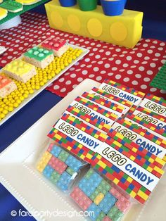 Favors at a Lego birthday party! See more party planning ideas at CatchMyParty.com!