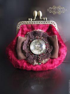 """Купить Винтажный кошелёк """"Амалия"""" - бордовый, кошелек с фермуаром, кошелек ручной работы, кошелек женский"""
