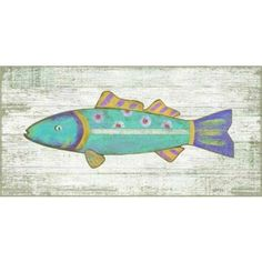 How adorable is this beach art? Love this brightly multi-colored aqua blue funky fish wall art from Suzanne Nicoll! Collect all four colors for a fun beach cottage look. Suzanne Nicoll image printed d