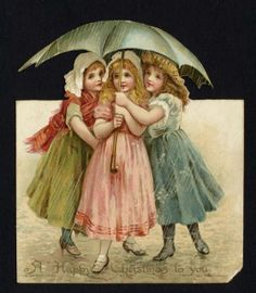 Victorian Christmas Card 3 Girls Beneath Umbrella Pub E Nister No 10917 | eBay