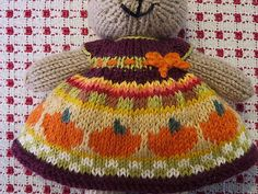 An Autumn Harvest Dress with pumpkins and a little blaze of color just under the waist much like the tiny batches of bright reds and yellows seen among the fading fall colors. Cast on 102 stitches . Crochet Amigurumi Free Patterns, Knitting Patterns Free, Baby Knitting, Free Knitting, Knitted Bunnies, Knitted Animals, Bunny Rabbits, Doll Hair Repair, Little Cotton Rabbits