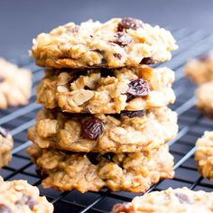 Easy Vegan Peanut Butter Banana Breakfast Cookies (V, GF): a one bowl recipe for chewy, protein-rich banana cookies, bursting with fruit & nut. Vegan.