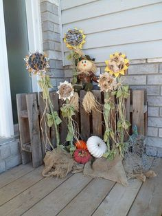 Falling for Pumpkins and Sunflowers!! My Grandma Stewart would just love these faux Sunflowers...and I know we'd all have one, because she would be making them.