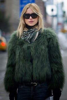 green faux fur ONLY