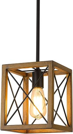 1-Light Rustic Metal Cage Hanging Lantern Black Wood Grain Finish Beionxii Farmhouse Pendant Light DMD9004-1H