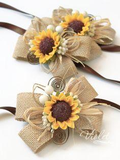Rustic sunflower burlap bridesmaid corsages, sunflower wedding bracelets