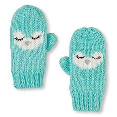 Girls Shimmery Owl Mittens - Blue - The Children's Place Winter Accessories, Girls Accessories, Girls Winter Coats, Birthday List, Big Fashion, Christmas Birthday, Mittens, Knit Crochet, Girl Outfits