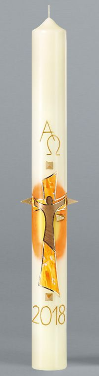 Osterkerze, 18.OK2, Jesus, Sonne, Orange-Gelb-Gold, m. g. Nägeln