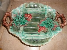 Antique Majolica green and pink dish with lattice design with wine leaves and flowers by LADYG99 on Etsy