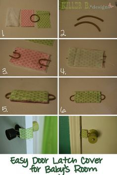 DIY Door Latch cover tutorial...one of the very first things I pinned was one of these that you could buy from an etsy shop.  Unfortunately it didn't have instructions and needless to say, I've never ordered one.  SURELY, I can summon the energy to make this one since it gives fail proof instructions!!!