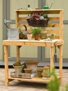 Garden Workbench Made From Wood Pallets Pallet Potting Bench, Potting  Tables, Tool Bench,