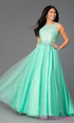 Prom Dresses, Celebrity Dresses, Sexy Evening Gowns: Floor Length Sleeveless Gown with Lace Bodice