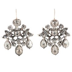 """Antique Leaf Floral Motif Cluster Drop Paste Earrings. Rare Georgian leaf and floral motif cluster and drop paste earrings, set in silver with gold ear wires. Dazzling to wear for evening dress and in the daytime too. The earrings measure 1 5/8"""" long by 1 1/8"""" wide. 1780"""