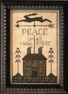 Primitive Cross Stitch Pattern  Peace House by FiddlestixDesign