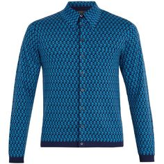 Prada Long-sleeved pixel-jacquard wool polo shirt ($1,350) ❤ liked on Polyvore featuring men's fashion, men's clothing, men's shirts, men's polos, mens polo shirts, prada mens shirts, mens retro shirts, mens slim shirts and mens merino wool polo shirts