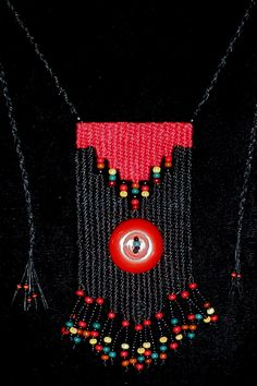 """All Buttoned Up"" - 2014 - SOLD - Adjustable length.  Woven by Terri Scache Harris, theravenscache.shutterfly.com   Hand woven, handwoven, weaving, weave, needleweaving, pin weaving, woven necklace, fashion necklace, wearable art, fiber art."