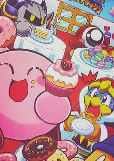Kirby and friends eating candies