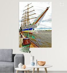 Russisches Segelschiff Mir am Kai in Hamburg anlässlich des Hafengeburtstages, Deutschland Kai, Illustration, Home Decor, Printing On Wood, Artist Canvas, Sailing Ships, Digital Art, Canvas Frame, Decoration Home
