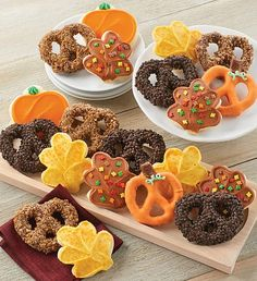 A tasty combination of sweet and salty! Enjoy our buttercream frosted pumpkin and leaf cut-out cookies and deluxe decorated gourmet pretzels finished with toffee and chocolate. A sweet gift idea or treat for your own family! Fall Decorated Cookies, Frosted Cookies, Fall Cookies, Cut Out Cookies, Cookie Frosting, Buttercream Frosting, Fall Treats, Halloween Treats, Fall Gifts