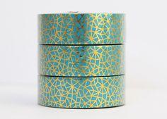 Masking Tape - Washi Tape Foil Tape blau gold Mosaik - ein Designerstück von Kiwis-Karten bei DaWanda